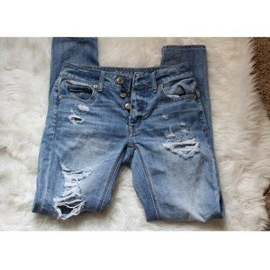 American Eagle button fly distressed jeans(299)